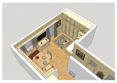 Planung eines Esszimmers mit angrenzendem Wohnbereich. Die Umsetzung ist unter den Küchen in Esche zu finden.