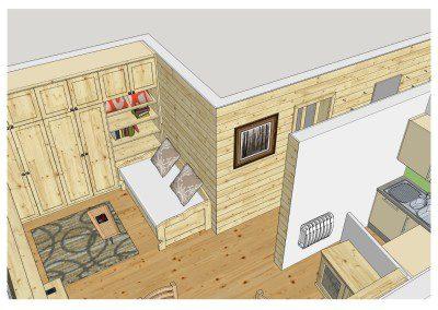 Teil Ansicht einer 3D Planung einer Küche mit angrenzendem Ess- und Wohnbereich in Esche