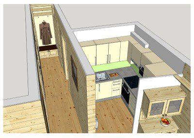 Ansicht einer Küchenplanung in 3D