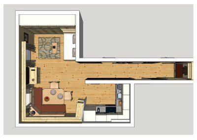 Planung einer Küche mit angrenzendem Ess- und Wohnbereich in Esche Massiv.