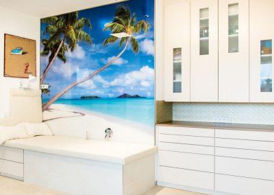 Wellnessbereich Glaswand mit Fotomotiv vom Urlaub des Kunden-1