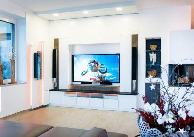 Wohnzimmer Elektrischer Fernsehnischen Verblendung mit Ledertapezierung (5)